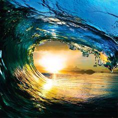 Water Wave Outdoor Scene Ocean Sun Sky Picture by designwithvinyl, $29.95