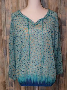 Lucky Brand Sheer Elastic Waist PEASANT L/S Blue Green Womens Size Large L #LuckyBrand #Peasant #Casual