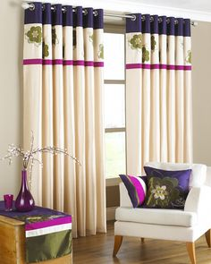 Eyelet Curtains | Embroidered Floral Curtains | Fast UK Delivery