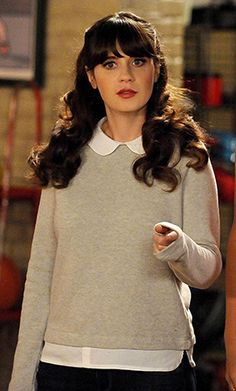 Jess's grey collared sweater on New Girl. Outfit Details: http://wornontv.net/46029/ #NewGirl