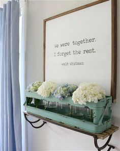 [ We Were Together, I Forget The Rest -Walt Whitman ] - 24 x 24 Framed Wood Sign ::::::::::::::::::::::::::::::::::::::::::::::::::::::::::::::::::::::::::::::::::::::::::::::::::::::::::::::::  This framed sign measures 24 x 24 - it is hand painted. Since no two pieces of wood are alike and distressing technique varies, no two signs will be exactly alike. Please know that I do not attempt to conceal the woods raw beauty, which includes, but is not limited to: nicks, knots, holes & other…