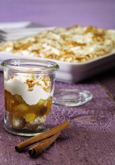 Ein cremiges Dessert mit Bratapfel-Kompott