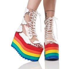 Current Mood Happy Daze Platforms ($98) ❤ liked on Polyvore featuring shoes, platform lace up shoes, lace up shoes, laced shoes, light weight shoes and rainbow footwear