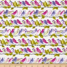 """One Curtain Panel """"Michael Miller Veranda Song Birds Orchid"""". Blackout lining optional, Natural Cott Baby Fabric, Fabric Birds, Cotton Fabric, Home Decor Colors, Colorful Decor, Fabric Covered Walls, Michael Miller Fabric, Purple Wallpaper, Fabulous Fabrics"""