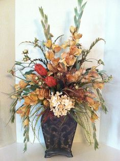 Tall Silk Floral Arrangement in gold, cream & rust by Greatwood Floral Designs.
