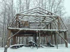 Timber Frame House with Gambrel Roof