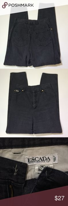 """Escada Jeans made in Italy, Italian size 40 / US 4 Missing front button and some fading, otherwise good used condition; waist: 27, rise: 12.5, inseam: 29""""; Escada Margaretha Ley; 100% cotton Escada Jeans"""