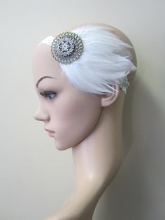 1920s white and cream feather flapper headband