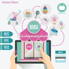 Illustration and banner template concept for baby shop and online store — Stock Vector © kupritz #61530953