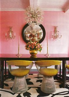 Pink gold decor - love the chairs