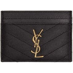 Saint Laurent Black Leather Monogram Card Holder (1.965 NOK) ❤ liked on Polyvore featuring bags, wallets, ysl, leather bags, monogrammed wallet, monogrammed leather wallet, leather card case wallet and embossed wallet