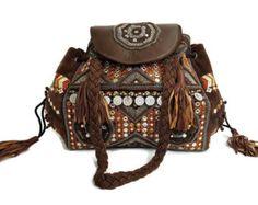 Large Avant Garde Weekender Bag In Brown Leather Weekend Boho Travel Tote