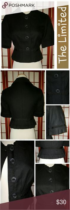 Fabulous Blazer! Fabulous blazer from The Limited.  Short sleeves.  Black.  All buttons intact.  Fully lined.  Pleat detailing at sleeves and back.  Sz XS.  Measurements lying flat armpit to armpit 16in, waist 14in, length shoulder to hem 17in.  EUC.  No stains or tears.  From smoke free home. The Limited Jackets & Coats Blazers