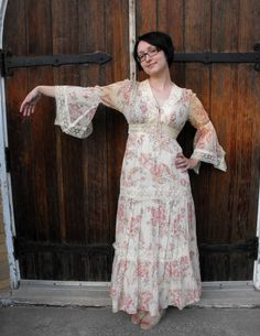 Vintage 70s Hippie Dress Boho Angel Sleeves Romantic by soulrust, $67.99
