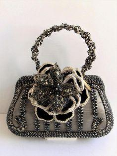 Vintage Mary Frances Gorgeous Silver Silk Black Bead 189 00 0n Etsy