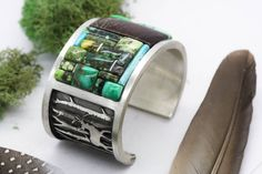 Forest Deer Inlay Cuff. Natural Turquoise by AppaloosaDesigns