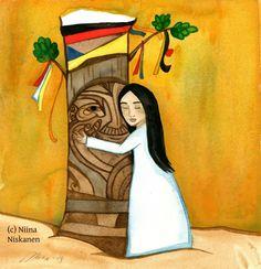 Grandfather Tree by Niina Niskanen Nursery Paintings, Nursery Art, Watercolor Paintings, Original Paintings, Watercolor Paper, Watercolors, Native American Spirituality, Native American Girls, Brown Art