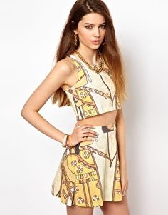 Illustrated People All Over Egyptian Digital Print Crop Top $46