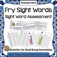 Fry Sight Word Assessment and Progress Monitoring Materials Free Fry Sight Word assessment and progress monitoring charts. Available for the Dolch Sight Word list too! Dolch Sight Word List, Fry Sight Words, Teaching Sight Words, Sight Words List, Sight Word Practice, Sight Word Activities, Fry Words, Word Games, Phonics Activities