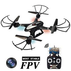 Goldenwide MJX X401H Wifi FPV EASY TO FLY RC Quadcopter Drone with Altitude-Hold Real Time Transmission HD Camera RTF Explorer Copter Left and Right Hand Switch Mode Predator Black