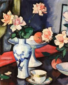 Samuel J. Peploe:  Still Life with Roses in a Chinese Vase (c.1923-1927)