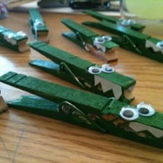 clothes pin crocodiles Could be used for the party people are trying to put on croc pins on each other without the other knowing. Crocodile Craft, Crocodile Party, Diy For Kids, Crafts For Kids, Arts And Crafts, Nursery Activities, Activities For Kids, Alligator Party, Roald Dahl Day