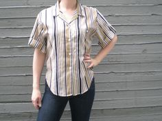 vintage 1980s boxy cut shirt with vertical stripes. button up blouse. retro summer clothing. | ReRunRoom | $16.00