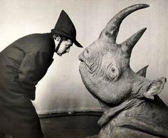Philippe Halsman - Dali with Rhinoceros, 1956