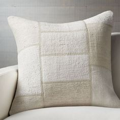 """Shop Aurelio 25"""" Pillow. Vintage rugs recycle in a monochromatic, off-white Turkish-style patchwork pillow. Reverses to solid cotton."""