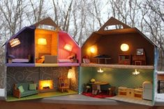 Oh, may our cardboard houses get more elaborate! DIY lighted dollhouse made from a cardboard box (by Ikat Bag) Cardboard Dollhouse, Cardboard Crafts, Diy Dollhouse, Dollhouse Miniatures, Dollhouse Lights, Dollhouse Melanie, Diy For Kids, Crafts For Kids, Light Project