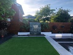 Letterbox waterfall for low maintenance garden Ormskirk - installed by Abel Landscapes Liverpool Modern Water Feature, Backyard Water Feature, Proms In The Park, Garden Makeover, Pergola Canopy, Water Features In The Garden, Low Maintenance Garden, Water Garden, Garden Landscaping