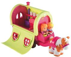 ELC- Happyland Roaming Rose Caravan with Horse EALY LEARNING CENTRE http://www.amazon.co.uk/dp/B003E3YO8O/ref=cm_sw_r_pi_dp_Rw2Vwb0622QV4 - so sweet!  It's a fairly faithful re-creation and they have even put the stove in the right place!