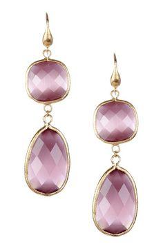 18K Gold Clad Lavender Cat's Eye Crystal Bold Double Dangle Earrings by Rivka Friedman on @HauteLook