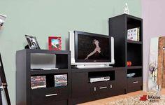 Centro de Entretenimiento Mod. LUXEMBURGO. PRECIO: $5,990. Incluye: 1 mueble central para pantalla y 2 muebles laterales. Medidas: Largo 2.40m, Alto: VARIOS, Fondo 40cm --DISPONIBLE EN CUALQUIER COLOR.