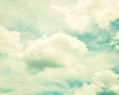cloud photography nursery wall art home decor aqua turquoise blue soft sky fine art photograph fluffy clouds