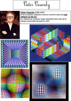 Inspirational, for ongoing graphic designing. Victor Vasarely, Op Art Lessons, Art History Lessons, Illusion Kunst, Illusion Art, Josef Albers, Art History Timeline, Classe D'art, 8th Grade Art