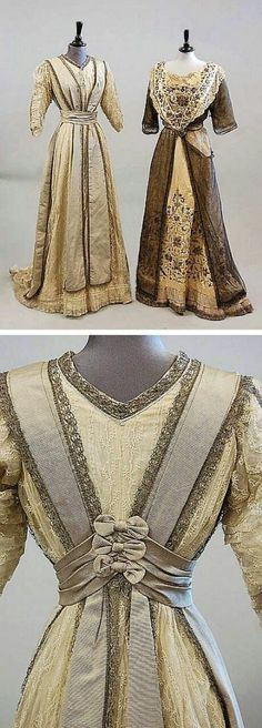 Two dresses from the Edwardian era: an intricately decorated Indian ball gown with colored silk and metal thread embroidery and a gray faille and lace gown with bow detail at the back