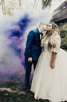 Chloe's Jaw-Dropping Custom wedding dress with sleeves. Ballgown by Allure Bridals. Love the purple smoke bomb - a wedding photo trend for FInd your perfect plus size wedding dress today! Plus Size Brides, Plus Size Wedding Gowns, Plus Size Gowns, Custom Wedding Dress, Wedding Dresses, Lace Wedding, Wedding Shit, Wedding Stuff, Curvy Bride