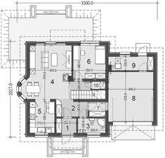 Rzut parteru projektu Baset 6 z garażem House Plans, Floor Plans, House Floor Plans, Floor Plan Drawing, Home Plans