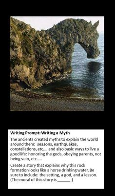 Writing prompt: creating a myth language arts writing prompt Teaching Writing, Writing Help, Writing Activities, Writing Tips, Teaching Strategies, Library Activities, Writing Challenge, Writing Worksheets, Essay Writing