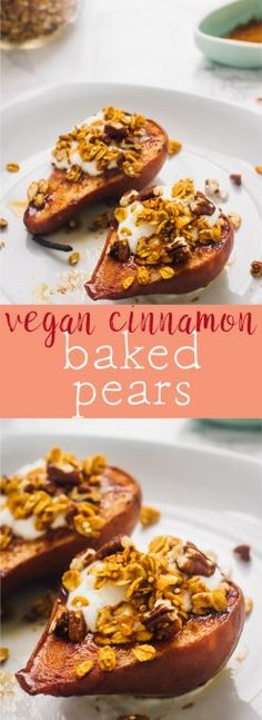 This Vegan Cinnamon Baked Pears are a real healthy fall treat! Just three ingredients, so soft they taste caramelised and so easy to make!