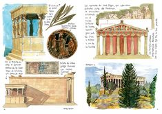 Lonely Planet, Pen And Wash, Greek History, Creative Journal, Journal Ideas, Greek Art, Urban Sketching, Ancient Civilizations, Interactive Design