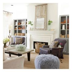 living rooms - gray built-in cabinets flanking fireplace eggplant... ❤ liked on Polyvore