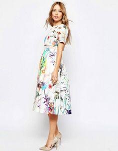 ASOS WEDDING Crop Top Midi Prom Dress In Floral Print