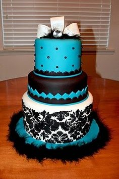 white, black, and turquoise wedding cake - Google Search