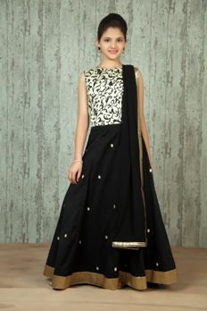 Printed silk choli with net ghagra and dupatta