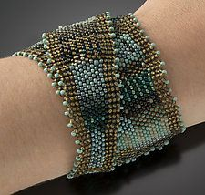 Wrap Cuff, Turquoise Patina by Julie Powell (Beaded Cuff)