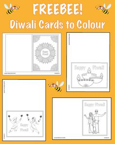 Download these Diwali greetings cards for your class to colour in as part of your Diwali-themed activities! Looking for ready-to-teach lessons about Diwali? Check out PlanBee's Diwali RE scheme of work for Year 3 at www.planbee.com Diwali Cards, Diwali Greeting Cards, Diwali Greetings, Religious Education, Happy Diwali, Book Lists, Diversity, Schools, Colour
