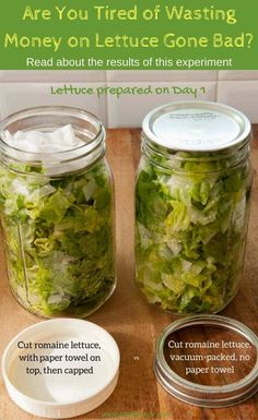 Vacuum-packed lettuce compared to jar containing paper towel; stop wasting money on lettuce gone bad, kitchen hack Fresco, Salad In A Jar, Healthy Eating Habits, Food Facts, Canning Recipes, Vegetable Recipes, Cooking Tips, Food To Make, Clean Eating
