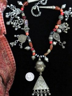 Old Yemeni Necklace Handcrafted with Pendants and Carnelians